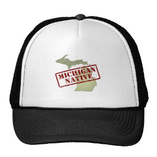 Michigan Native Stamped on Map Mesh Hat