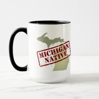 Michigan Native Stamped on Map Mug