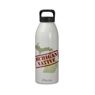 Michigan Native Stamped on Map Water Bottles
