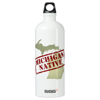 Michigan Native Stamped on Map Water Bottle