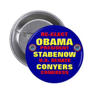 Michigan para Obama Stabenow Conyers Pin Redondo De 2 Pulgadas