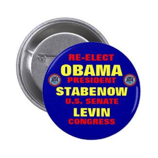 Michigan para Obama Stabenow Levin Pin Redondo De 2 Pulgadas