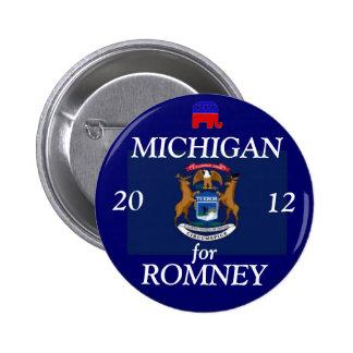 Michigan para Romney 2012 Pin Redondo De 2 Pulgadas