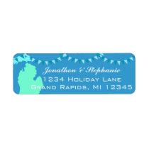 Michigan Pendant Map of Michigan Return Labels