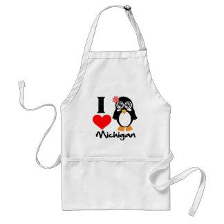 Michigan Penguin - I Love Michigan Adult Apron