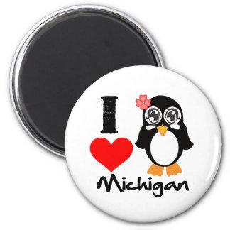Michigan Penguin - I Love Michigan Fridge Magnets