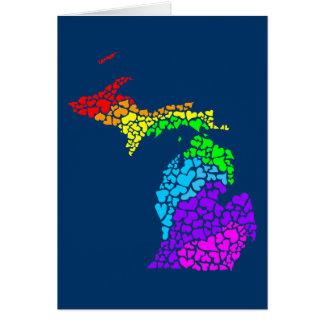 michigan pride : rainbow hearts card