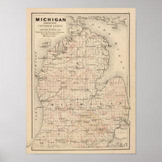 Michigan que muestra líneas de contorno poster