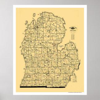 Michigan Railroad Map 1897 Poster