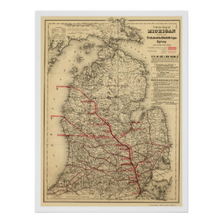 Michigan Railroad Train Map 1886 Print
