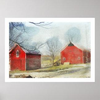 Michigan Red Barn Artwork Poster
