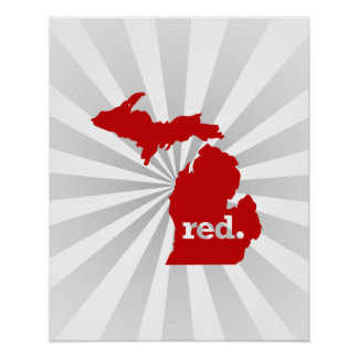 MICHIGAN RED STATE POSTER