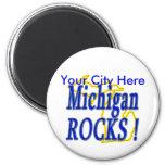 Michigan Rocks ! 2 Inch Round Magnet