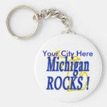 Michigan Rocks ! Basic Round Button Keychain
