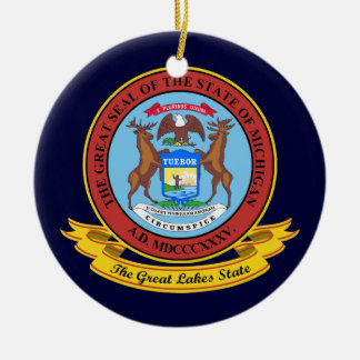 Michigan Seal Ceramic Ornament