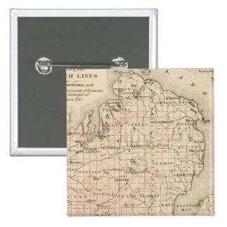 Michigan showing contour lines 2 inch square button