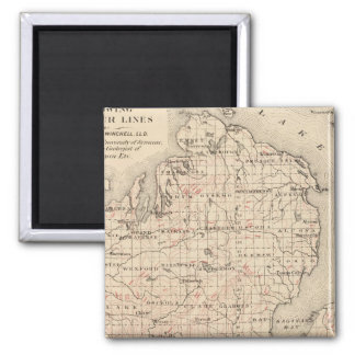 Michigan showing contour lines 2 inch square magnet