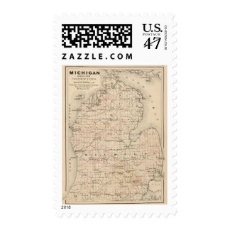 Michigan showing contour lines postage stamp