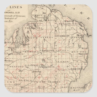 Michigan showing contour lines square sticker