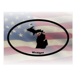 Michigan Silhouette Oval Design Postcard