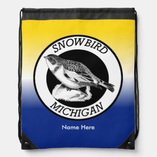 MIchigan Snowbird Shield Drawstring Bag