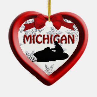 Michigan Snowmobile Heart Christmas Ornament