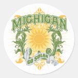 Michigan solar pegatina redonda