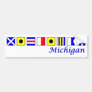 Michigan spelled in nautical flag alphabet bumper sticker