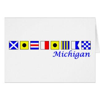 Michigan spelled in nautical flag alphabet card