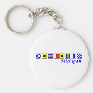Michigan spelled in nautical flag alphabet key chains