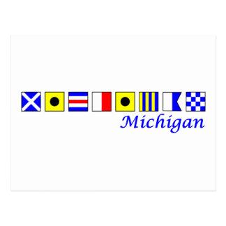 Michigan spelled in nautical flag alphabet post card