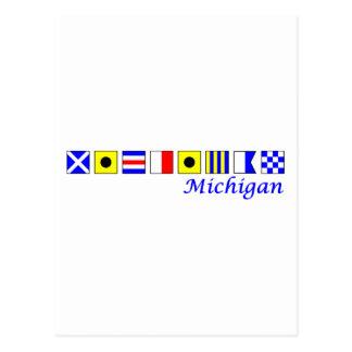 Michigan spelled in nautical flag alphabet postcard