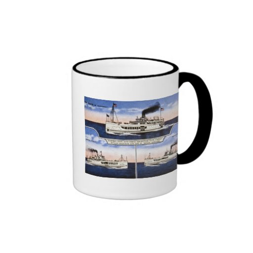 Michigan State Auto Ferries Ringer Coffee Mug