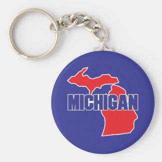 Michigan State Basic Round Button Keychain