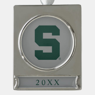 Michigan State Block S Silver Plated Banner Ornament