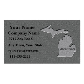 Michigan State Business card  carved stone look