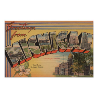 Michigan (State Capital/Flower) Poster