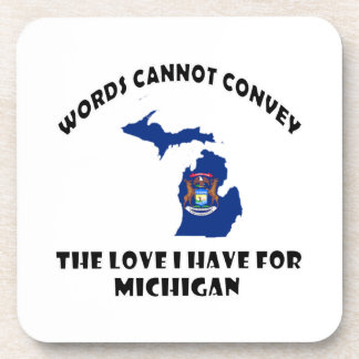 Michigan state flag and map designs coaster