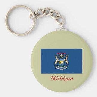 Michigan State Flag Basic Round Button Keychain