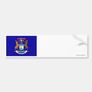 Michigan State Flag Car Bumper Sticker