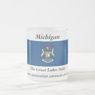 Michigan State Flag Frosted Glass Coffee Mug