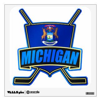 Michigan State Flag Hockey Logo Wall Sticker