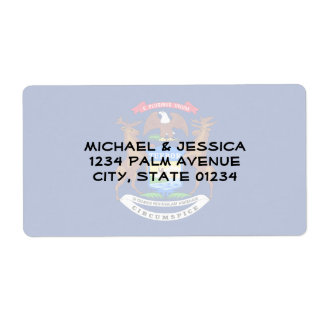 Michigan State Flag Shipping Label