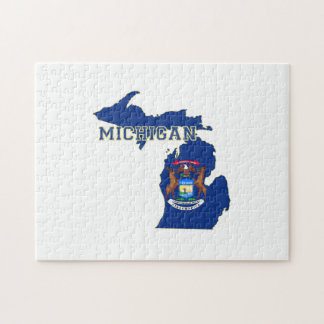 Michigan State Flag Map Jigsaw Puzzle