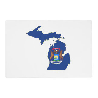 Michigan State Flag Map Placemat