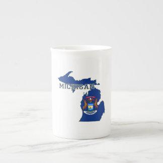 Michigan State Flag Map Tea Cup