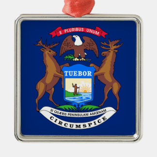 Michigan State Flag Metal Ornament