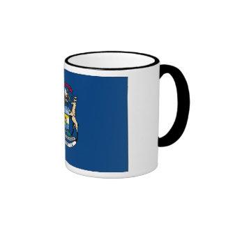 Michigan State Flag Ringer Coffee Mug
