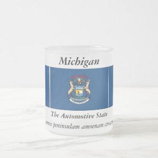 Michigan State Flag 10 Oz Frosted Glass Coffee Mug