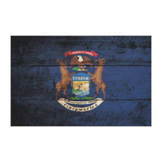 Michigan State Flag on Old Wood Grain Canvas Print
